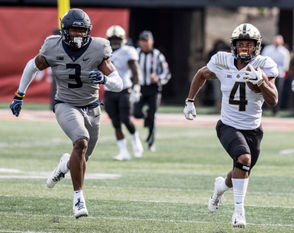 Purdue 5-foot-7 freshman slot receiver Rondale Moore is second in the Big Ten in receiving yards, and will be a problem for Ohio State on Saturday. (Holly Hart, Associated Press)