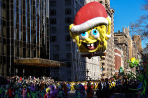 The SpongeBob SquarePants balloon floats down Central Park West during the 91st Annual Macy's Thanksgiving Day Parade on November 23, 2017 in New York City.