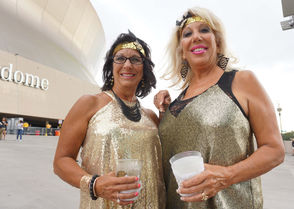 Fans showed off their Saints style at the preseason game on Friday Aug. 17, 2018. (Photo by Doug MacCash, NOLA.com | The Times-Picayune)