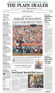 The Plain Dealer's front page for October 8, 2018