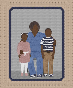 """Artist Amy Elkins created family portraits out of hundreds of prison uniforms to bring light to the implications of familial incarceration. """"Each portrait, constructed meticulously out of hundreds of prison uniforms, intentionally obscures facial features and places families in generic visitation rooms, making commentary on the struggle to maintain one's sense of identity and personal space while incarcerated,"""" Elkins said. She was inspired by a woman named Tonja, who was released from prison at the same time as her son finished his prison sentence, she said."""