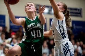 """Surrounded by seniors ready to launch 3-point shots, Freeland junior Kadyn Blanchard has become the attacker on the Falcons' girls basketball tournament run. That strikes Freeland coach Tom Zolinski as a bit funny, since Blanchard's trek to the varsity highlight reel didn't follow the usual path for one reason. """"She was too timid,"""" Zolinski said. """"She was a nice player, but she came out of middle school and just kind of let everybody do everything. She wasn't aggressive. """"What she's done since then is remarkable."""""""