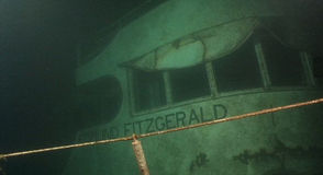 Image  of the Edmund Fitzgerald shipwreck taken during a dive in 1995 to  recover the ship's bell.