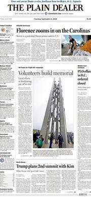 The Plain Dealer's front page for September 11, 2018