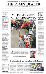 The Plain Dealer's front page for November 26, 2018
