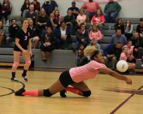 Easthampton girls volleyball defeated Chicopee 3-2 at home on Monday. (Doug Steinbock)