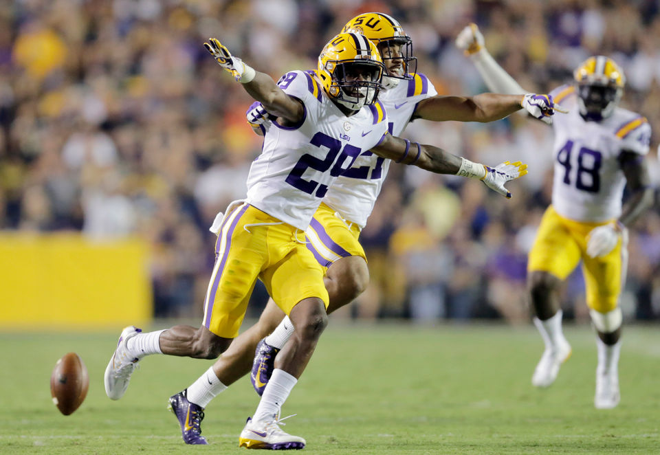 LSU Tigers cornerback Greedy Williams (29) celebrates after intercepting  the ball during first half action against the Chattanooga Mocs in Baton  Rouge on ... f9474cb71