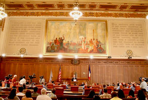 """CLEVELAND, Ohio -- The city believes that the liquid found dripping last week onto a historic mural in Cleveland City Council chambers is water. Still unknown, though, is preciselywhere the water is coming from. In the meantime, longtime Councilman Mike Polensek on Tuesday called on the city to take steps to protect the mural from permanent damage. """"The longer the water penetrates the painting -- the more damage that will be done, and I am assuming the cost to restore the painting will be substantial,"""" Polensek said in a letter to Public Work Director Michael Cox."""