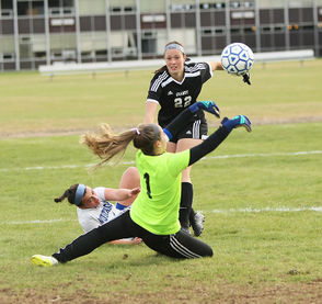 The No. 13 Monson girls soccer team defeated No. 19 Granby, 2-1, Monday. (J. ANTHONY ROBERTS)