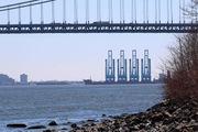 'Super cranes' await lowering to pass under Verrazano-Narrows Bridge