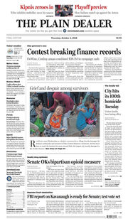 The Plain Dealer's front page for October 4, 2018
