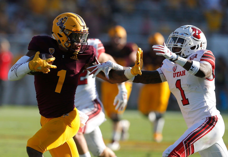 Arizona State wide receiver N Keal Harry (1) fends off Utah defensive back  Jaylon Johnson in the second half of an NCAA college football game b5628c93d