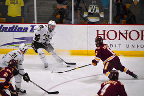 Photos from the college hockey matchup between Western Michigan and Minnesota Duluth at Lawson Ice Arena.