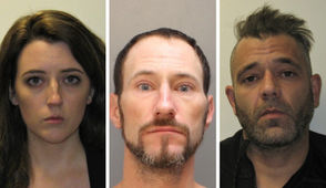 From left, Kate McClure, Johnny Bobbitt and Mark D'Amico (Police photos)