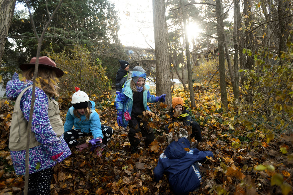 Elementary students 'going into the woods' for outdoor-classroom learning