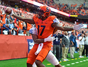 Syracuse wide receiver Jamal Custis (17) celebrates scoring a touchdown during a game against North Carolina on Saturday, Oct. 20, 2018, at the Carrier Dome in Syracuse, N.Y.