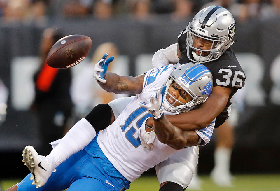 The Lions take on the Raiders in the preseason opener. Here are some AP photos from the game: