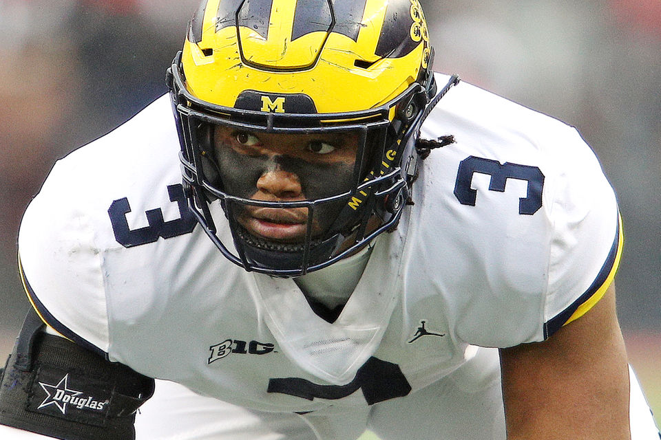 Michigan defensive lineman Rashan Gary (3) waits for a snap during the  second quarter of their Big Ten college football game against Ohio State at  Ohio ... a8417d0dd