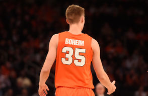Syracuse guard Buddy Boeheim (35) wearing a misspelled uniform during a game against Connecticut in the 2K Classic on Thursday, Nov. 15, 2018, at Madison Square Garden in New York. Dennis Nett | dnett@syracuse.com