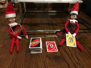 These elves are having fun playing UNO -- who will win?