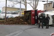 Dump truck tips over in Allen Township