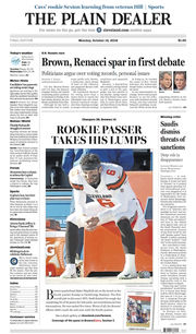 The Plain Dealer's front page for October 15, 2018