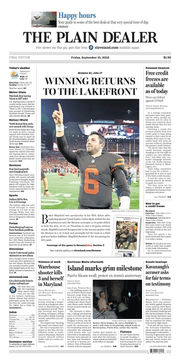 The Plain Dealer's front page for September 21, 2018