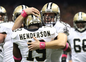 Another longstanding record went down when Brees threw a touchdown pass in a 48th consecutive game, breaking a tie with Johnny Unitas for the longest such streak in NFL history. Brees broke the 52-year-old record with a 40-yard pass to Devery Henderson in 2012 against the Chargers. The record streak ended at 54 games.