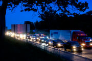 Trailer flip cause of I-94 traffic backup near Jackson Friday night