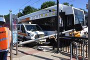 PSE&G van, light rail train crash in Jersey City