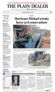 The Plain Dealer's front page for October 11, 2018