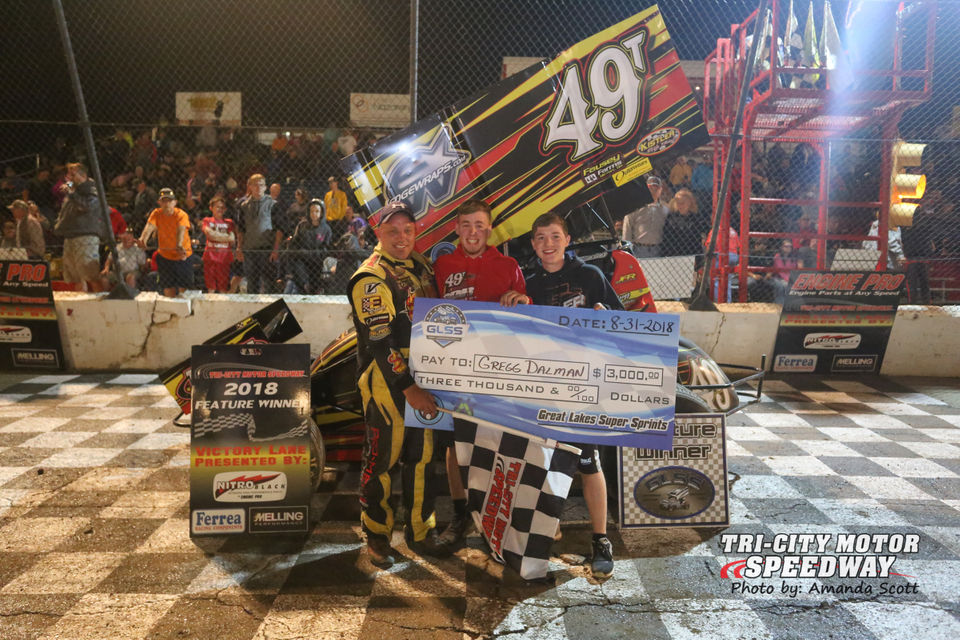 Gregg Dalman claimed victory in the Super Sprints. (Courtesy Amanda Scott for Tri-City Motor Speedway)