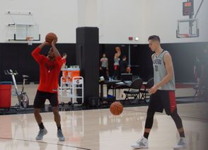 The Portland Trail Blazers practice on October 16, one day after the news of team owner Paul Allen's death.
