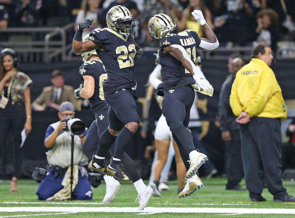 34abb91d0e9 Saints running backs vs. Cowboys linebacker Leighton Vander Esch. New  Orleans ...