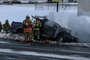 Man dies after fiery crash near Airport Road