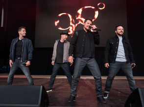 98 Degrees band members, from left, Jeff Timmons, Justin Jeffre, Nick Lachey and Drew Lachey perform at KTUphoria 2018 at Jones Beach Theater on Saturday, June 16, 2018, in Wantagh, New York.