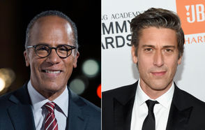 "Lester Holt, left, anchors ""NBC Nightly News""; David Muir, right, anchors ABC's ""World News Tonight."" Both are among the most trusted TV news anchors, according to a new poll."
