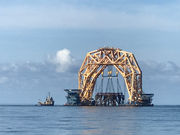 Shell platform transformed into artificial reef in the Gulf of Mexico