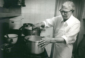 "Joe Casamento is seen here at work, making his special tomato gravy in 1978 on his 90th birthday. ""What is a 90th birthday, after all?"" he shrugged. ""I don't care about all that foolishness. I've got work to do."""