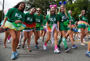 University of Alabama Panhellenic sororities once again livened up the school's annual homecoming parade with costumes, dancing and all-around enthusiasm on Saturday. See the photos below.