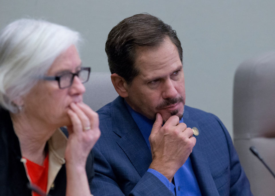 Rep. Knute Buehler listens during a legislative hearing in Salem earlier this year.