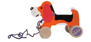 The Pull Along Dog comes with a cord measuring approximately 19 inches long. Industry standards requiring strings on playpens and cribs to be less than 12 inches long don't apply to pull toys.