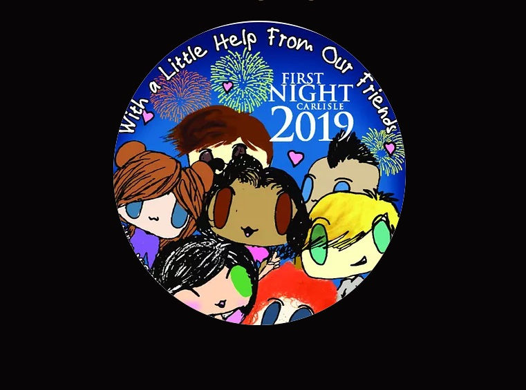 first night carlisles button for new years eve 2018 was designed by 11 year old addison mccarty of sporting hill elementary school twp