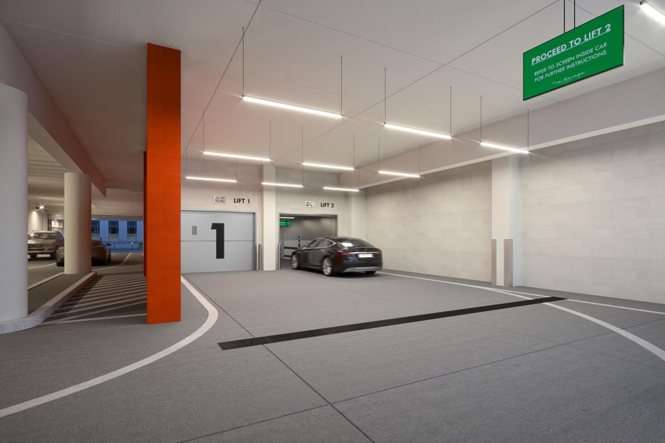 A Rendering Shows Plans For Car Elevator At The Garage