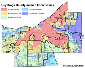 """CLEVELAND, Ohio - The new home appraisals issued by Cuyahoga County offer a glimpse into how much values vary not only from city to city, but also within each town in the county. Scroll below to see how home values vary by neighborhood in your community, based on a cleveland.com analysis of data for more than 400,000 parcels countywide. The """"neighborhood"""" lines shown are those used by the county for appraisal purposes, often to group like homes together. They do not necessarily reflect actual neighborhoods. The values are for single-family homes. The proposed values are what would be used for next year's tax bills, the 2018 taxes paid in 2019. The existing values were used for this year's bills. Data is shown below for suburban areas. At this link, details for Cleveland home values were published earlier."""