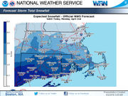 How much snow will fall in Massachusetts on Monday?