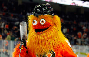 The new Philadelphia Flyers mascot, Gritty, takes to the ice during the first intermission of the Flyers' preseason NHL hockey game against the Boston Bruins, Monday, Sept, 24, 2018, in Philadelphia.