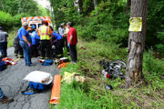 Motorcyclist flown for treatment after hitting tree (PHOTOS)