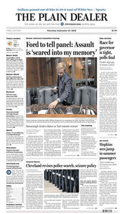 The Plain Dealer's front page for September 27, 2018