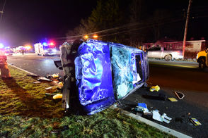 A Toyota Highlander rolled over about 5:50 p.m. Dec. 10, 2018, in a crash involving a Honda on Route 31 in Washington Township, Warren County.